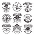 pirates set of vintage emblems or badges vector image