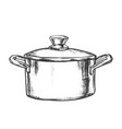 pot stainless cooking kitchenware vintage vector image vector image
