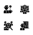 recruitment black glyph icons set on white space vector image
