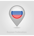 Russian flag pin map icon vector image