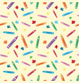 seamless background with crayons and paints vector image vector image
