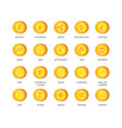 set of cryptocurrency icons top 20 signs vector image vector image