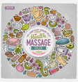 set of massage cartoon doodle objects vector image
