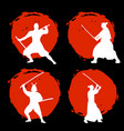 set of samurai warriors silhouette on red moon vector image vector image