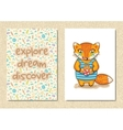 Stylish floral poster with little fox in cartoon vector image vector image