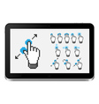 Tablet pc with touch screen gestures vector image