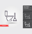 toilet bowl and plunger line icon with editable vector image
