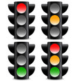 traffic lamps signals on white with shadow vector image
