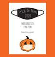 trick or treat halloween postcard design pumpkin vector image