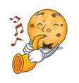 with trumpet oat cookies in a cartoon jar vector image vector image