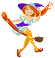 a beautiful young witch on a broomstick in the air vector image vector image