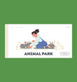 animal park landing page template happy kid vector image