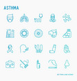 asthma thin line icons set