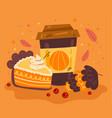 autumn hot drink with pumpkin pie design element vector image