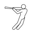 baseball player pictograph vector image vector image