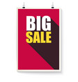 big sale poster design text hanging on wall vector image vector image