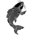 black koi fish tattoo vector image