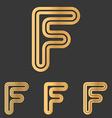 Bronze line f logo design set vector image vector image