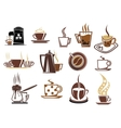 Brown coffee icons vector image