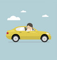 businesswoman rides in the car vector image