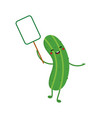 cartoon green cucumber character holding sign vector image vector image