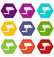 cctv camera icon set color hexahedron vector image vector image