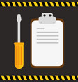 checklist with screwdriver icons vector image vector image
