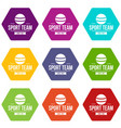 cricket ball icons set 9 vector image vector image