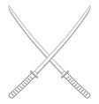Crossed katana sword vector image vector image