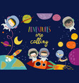 cute frame composed girls ans boys astronauts vector image