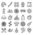cycling equipment icons set outline style vector image vector image
