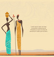 ethnic background with african people and stylized vector image vector image