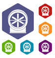 fan icons set hexagon vector image vector image
