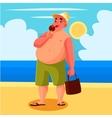 Fat man eating ice cream on the beach vector image