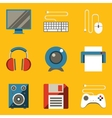 Flat icon set Computer vector image