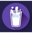 glass of milk splash icon flat style vector image vector image