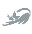 gray cat releases claws vector image vector image
