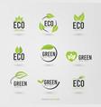 green natural ecology logo set vector image vector image