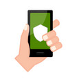 hand holding a smartphone with a shield icon vector image