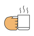 hand holding cup with hot drink color icon vector image