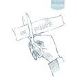 Hand scissor cut possible impossible sketch vector image
