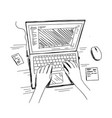 hands and laptop keyboard typing top view work vector image vector image