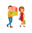 happy couple shopping family shopping in a mall vector image vector image
