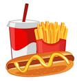hot dog french fries and soda vector image vector image