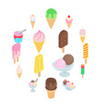 ice cream icons set isometric 3d style vector image