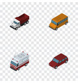 isometric car set of freight car first-aid and vector image