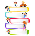 label templates with happy kids vector image vector image