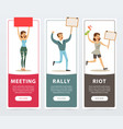 meeting rally riot banners set angry people vector image