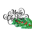 merry christmas greeting card holy on snow vector image vector image