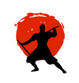 ninja warrior silhouette on red moon and white vector image vector image